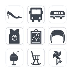 Premium fill icons set on white background . Such as spring, bus, high, sign, work, basketball, photo, t-shirt, cream, speed, nature, transport, image, blossom, road, sweet, belt, heel, team, street