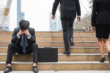 Stress sad Businessman in city
