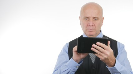 Businessman Image Using a Touch Tablet Online Application