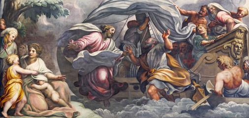 PARMA, ITALY - APRIL 16, 2018: The fresco  Peter, walking on water toward Jesus in Duomo by Lattanzio Gambara (1567 - 1573).