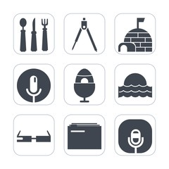 Premium fill icons set on white background . Such as metal, snow, arctic, file, house, fork, geometry, modern, holiday, cold, spoon, winter, tool, igloo, nature, music, easter, sun, paper, spring, ice