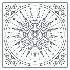 Mandala. Abstraction. Linear vector illustration