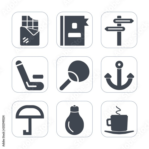 Premium fill icons set on white background   Such as ping