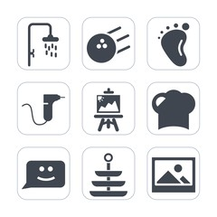 Premium fill icons set on white background . Such as hat, hobby, small, restaurant, old, competition, fun, medical, bath, sign, infant, dentist, mother, love, drill, picture, newborn, smile, leisure