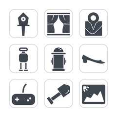 Premium fill icons set on white background . Such as android, joystick, place, water, shovel, footwear, fashion, picture, box, house, pin, nest, construction, interior, futuristic, spring, image, play