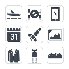 Premium fill icons set on white background . Such as kitchen, futuristic, food, frame, communication, launch, plane, timetable, time, knife, luggage, android, box, phone, suit, calendar, flight, fork