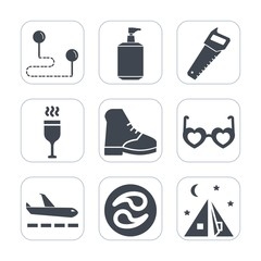 Premium fill icons set on white background . Such as hippie, restaurant, place, equipment, tool, position, travel, location, kamon, wine, glass, boot, japan, soap, health, navigation, camp, bottle