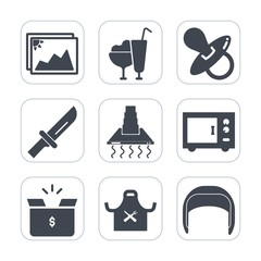 Premium fill icons set on white background . Such as microwave, sweet, helmet, cream, cooking, pacifier, photo, work, vanilla, cone, ice, hood, restaurant, image, summer, oven, dinner, fork, belt, old