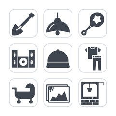 Premium fill icons set on white background . Such as light, equipment, baby, tool, technology, shake, shovel, bulb, electricity, fashion, kid, power, hat, home, photo, clothing, frame, drill, child