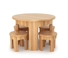 деревянный круглый стол с четырьмя стульями. Современный дизайнер, изолированных на белом фоне. 3d иллюстрации