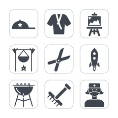 Premium fill icons set on white background . Such as paintbrush, work, meat, painter, care, clothes, fashion, object, cap, headwear, cut, hat, color, artist, beauty, fireplace, baseball, paint, bbq