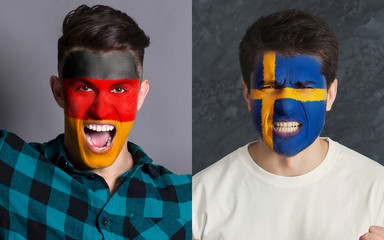 Emotional soccer fans with painted flags on faces