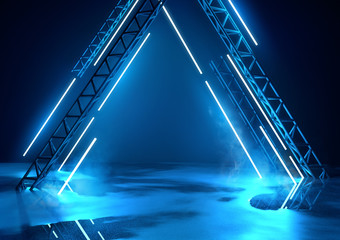 Futuristic glowing neon stage in blue. Concert background with product placement platform. 3d illustration