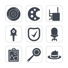Premium fill icons set on white background . Such as security, hat, drawing, style, transport, office, fashion, tire, check, bird, kitchen, clothing, road, nest, desk, automobile, birdhouse, business
