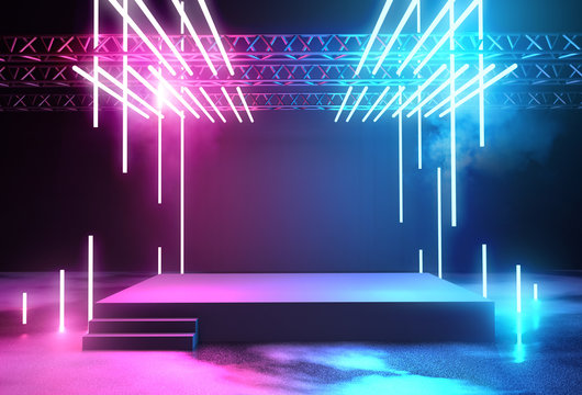 Neon Glowing Stage and Lighting