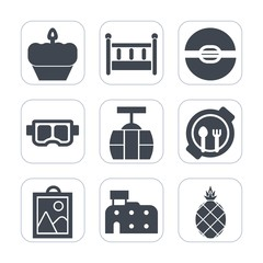Premium fill icons set on white background . Such as train, food, doughnut, cable, cookie, picture, cake, cupcake, bed, snorkel, car, bedroom, exotic, summer, kid, fresh, table, muffin, architecture