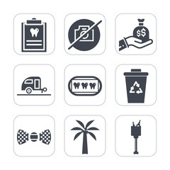 Premium fill icons set on white background . Such as bag, bucket, caravan, recycle, sign, camera, photo, tie, medicine, hand, doctor, travel, journey, finance, ice, no, healthy, patient, white, waste