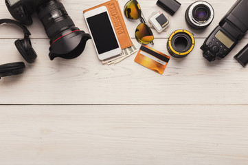 Diverse personal equipment for photographer