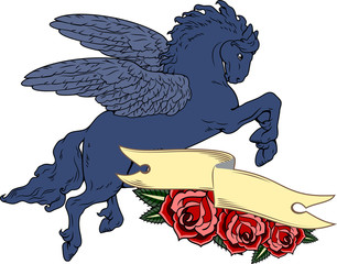 Winged fairy horse Pegasus on the background of a banner