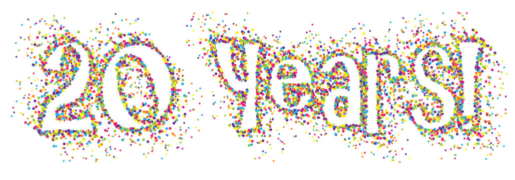 20 YEARS! colourful dots banner
