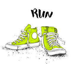 Hand drawn sneakers on white background. Run Concept. Vector illustration