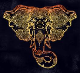 Decorative elephant portrait with beautiful ornament.