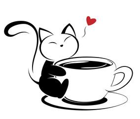 Cat logo illustration on white background.