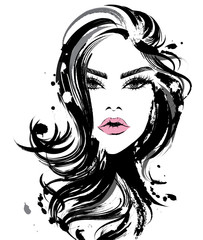 Beautiful women, logo women face makeup on white background, vector