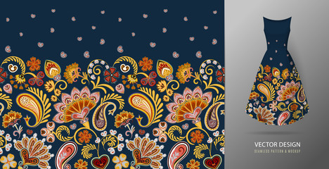 Seamless vertical fantasy flowers border pattern. Hand draw floral background on dress mockup. Vector. Traditional eastern pattern for textiles, wallpapers, decor. Hot red orange colors on dark blue