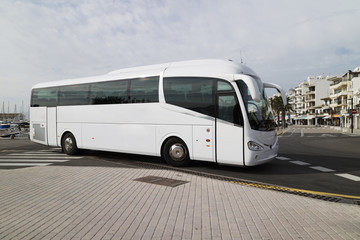 Porto Pollensa, Mallorca, Spain. 2018. Tour bus at the bus station in Porto Pollensa.