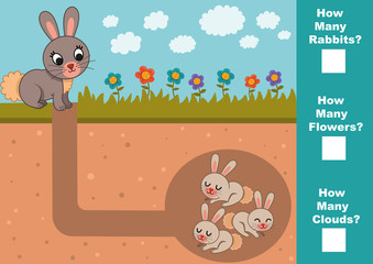 Educational Mathematical game for children. Count how many rabbits, flowers, clouds? (Vector illustration)
