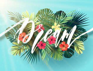 Summer lettering with green palm leaves and bright hibiscus flowers on a sky blue background. Modern botanical typography design. Vector illustration.