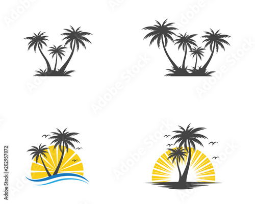 palm tree summer logo template stock image and royalty free vector