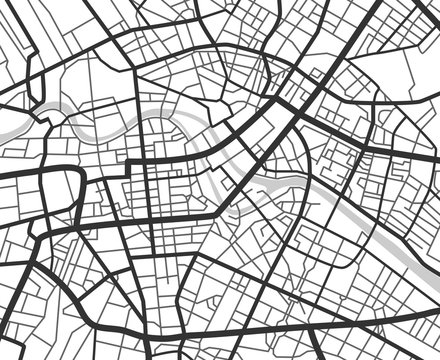 Abstract city navigation map with lines and streets. Vector black and white urban planning scheme