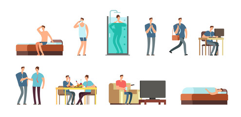 Man in everyday life. People daily routine vector cartoon businessman characters set