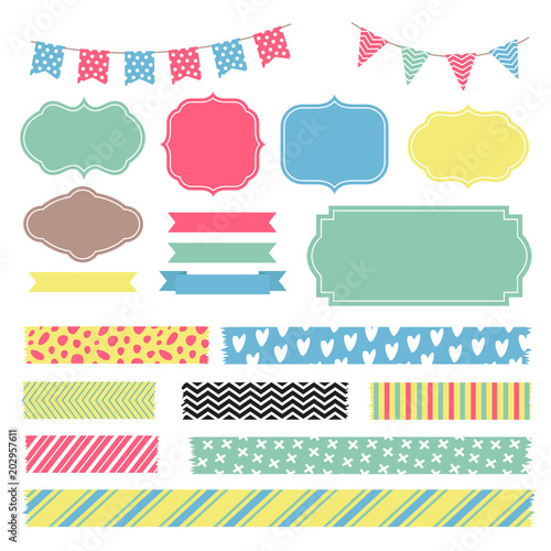 scrapbook decoration graphic vector elements cute frames and