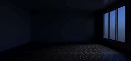 Realistic Empty Room With Wooden Floor. 3d Rendering