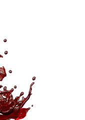 Liquid  juice splashes with droplets isolated. 3D illustration