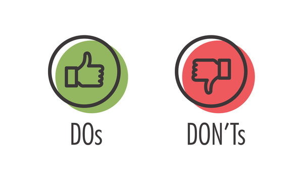Do and Don't or Like and Unlike Icons w Positive and Negative Symbols