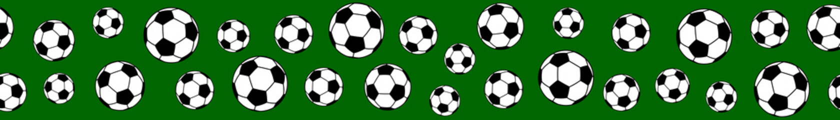 Seamless horizontal banner of soccer balls on green background.