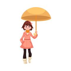 Little kid girl under umbrella walks under rain smiling and happy isolated on white background. Cartoon character of child in raincoat loving rain, vector illustration.