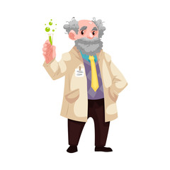 Carton old chemistry scientist standing in uniform holding mixture flask, lab-tube smiling. Smiling grey-haired old professional character, chemical research laboratory worker. Vector illustration