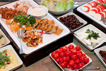 tasty fish and vegetables catering buffet
