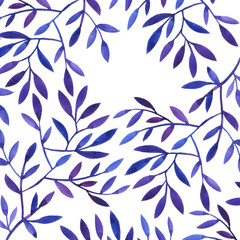 background with watercolor tree branches and leaves