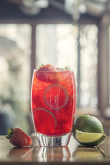 strawberry lemonade with lime and mint