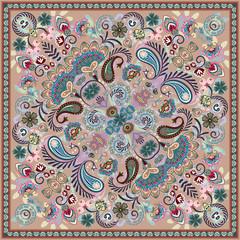 Paisley Bandana print. Vector square pattern. Lilac