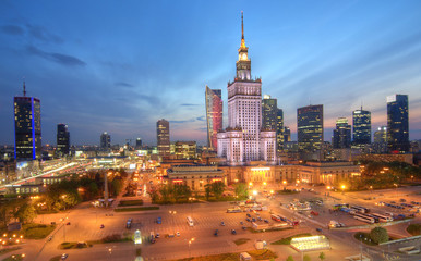 Evening panorama of the city. Warsaw Poland.