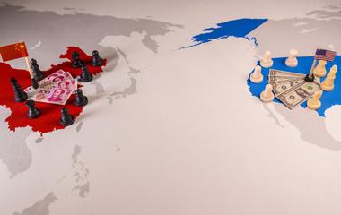 USA and China trade war concept
