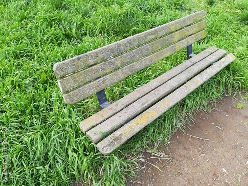 Detail Of A Bench In A Park In The Morning Sun Stock Photo And