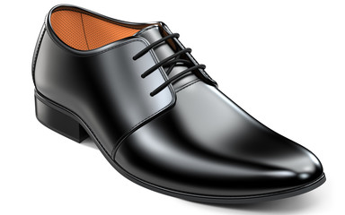 Beautiful black leather shoes for men. Classic office footwear 3d rendering isolated on white background.